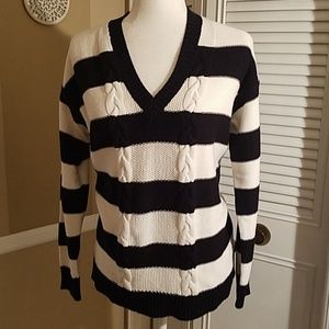 Chaps cable knit black and white sweater size M